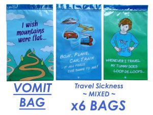 sacchetto per il vomito in caso di mal d'auto
