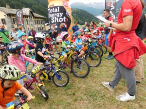 la partenza dell'Alta Valtellina Bike Marathon Kids